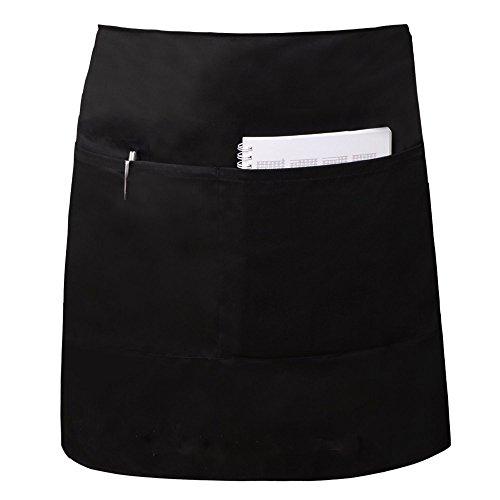 (Elaine Karen Deluxe Adult Men's Women's Unisex Waist Bistro Bib Apron - Black - 3 PK)