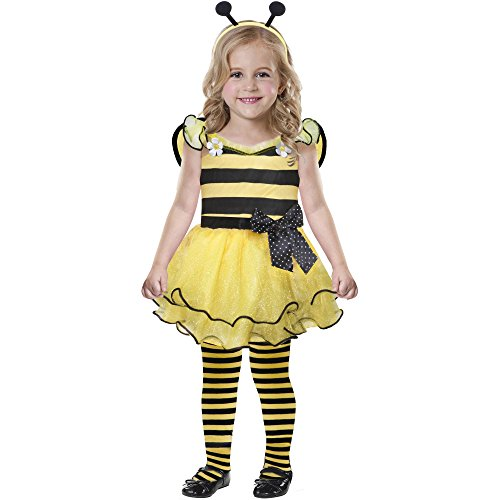 Toddler Cute As Can Bee Honey or Bumble Bee Costume- Dress Wings Size (Bumble Bee Tights Toddler)