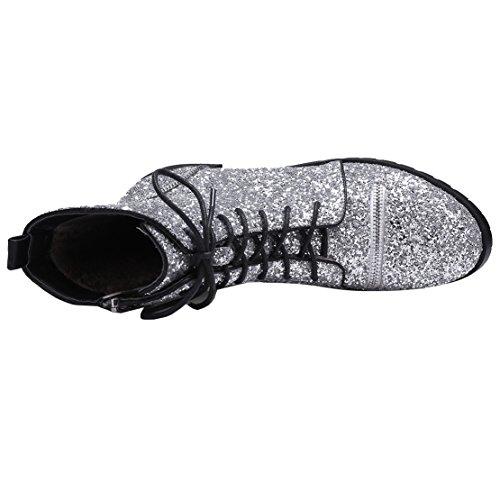 Glitzer Reißverschluss AIYOUMEI mit Silber Heel Kurzschaft und Chunky Stiefeletten Stiefel Schnürung Damen g5FHqnHw0