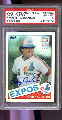 2002 Topps Archives Reserve Gary Carter Signed Autograph AUTO Graded Baseball MLB Card PSA 8 (Autograph Auto Topps 2002)