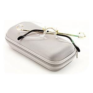 V.W.E Rectangular Rimless Fashion Reading Glasses With Anti-reflective AR Coating (Gold, 2.25)