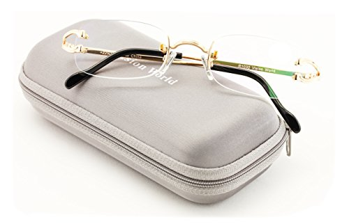 V.W.E Rectangular Rimless Fashion Reading Glasses With Anti-reflective AR Coating (Gold, - Cartier Glasses Mens