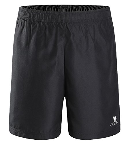 Youth No Pocket Sweatpant - Camel Men's Sport Shorts for Running, Workout, Training with Quick Dry Breathable and Lightweight (Black, L)
