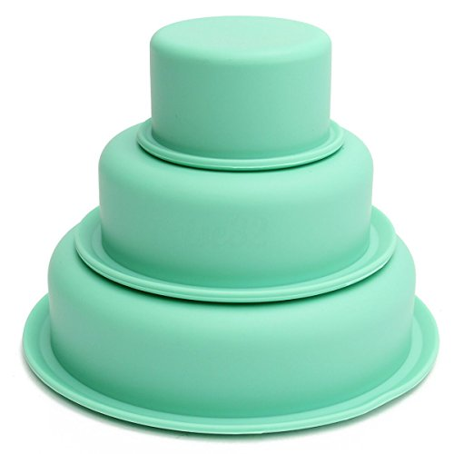 Silicone 3-Layers Big Cake Pan Round Baking Bareware Mold Pastry Tray Mould (Flexible Silicone Fluted Tube Pan)