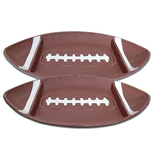 Football Serving Platter - Chip and Dip Serving Tray - Heavy Duty Melamine Serveware Trays, Large 16-inch Party Size - Set of 2 Platters for Gameday Parties
