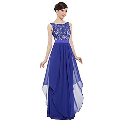 Ever-Pretty Juniors Sleeveless Floor Length Formal Lace Prom Gown 6 US Sapphire Blue