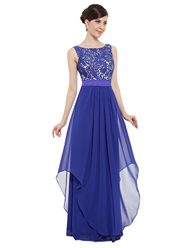 Evening Prom Party Formal Gown - Ever-Pretty Juniors Sleeveless Floor Length Formal Lace Prom Gown 6 US Sapphire Blue