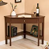 Mecor Wood Corner Desk with One Drawer and One Storage Shelf, Espresso Finish, Home Office Use