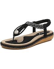 dcebaa09bcd4 Meeshine Womens Summer Beach Flat Sandals Rhinestone Shiny Beads Slip On Flip  Flops Thong Shoes