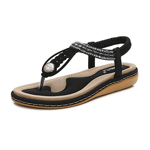 Meeshine Womens Summer Beach Flat Sandals Rhinestone Shiny Beads Slip On Flip Flops Thong Shoes(11 B(M) US,Black 04) by Meeshine