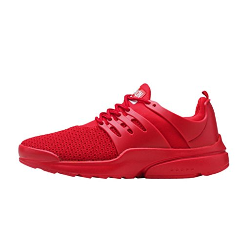 huichang Summer Men's Fashion Sneakers Breathable Mesh Running Shoes Lace-up Casual Shoes Red