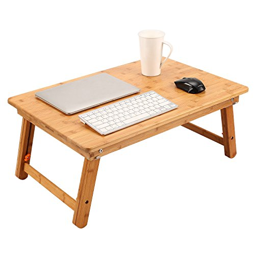 Large Size Laptop Tray Desk NNEWVANTE Foldable Bed Table Tray, Coffee/TV Desk 100% Bamboo Breakfast Serving Tray Gaming Writing Support up to 18in Laptop, 26x17.7in (Breakfast Table Folding)