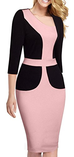 HOMEYEE Women's Vintage Wear to Work Patchwork Formal Official Bodycon Dress B348 (12, Light Pink + Black)