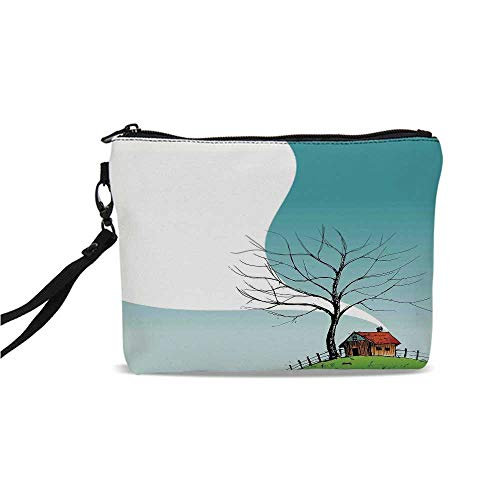 Landscape Simple Cosmetic Bag,Stylized Landscape House on Top of the Hill Plume European Northern Place Illustration for Women,9
