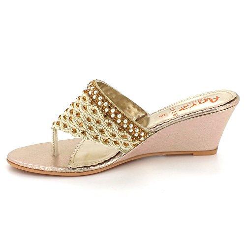 Open Chaussures Toe Sandales Confort Dames Talon Bas Femmes mariée Soir compensé des Glisser sur Détaillé Fête Or Taille Mariage De EBqwTf4