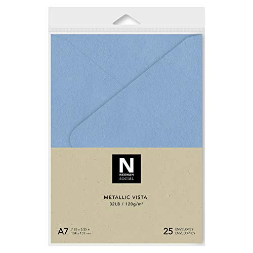 - Neenah Social A7 Envelopes, 5-1/4 X 7-1/4 Inches, 32 lb, Metallic Vista (Lilac) in Smooth Finish with Euro Flap and Moisture Seal Closure, 25 Count (91486)
