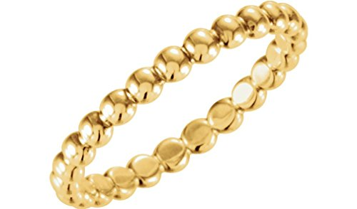 18k Yellow Gold Granulated Bead 2.5mm Stackable Band, Size 8 by The Men's Jewelry Store (for HER)