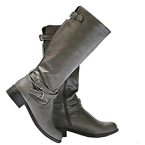 (Syktkmx Womens Lace up Strappy Knee High Leather Winter Low Heel Side Zip Riding Boots Gray)