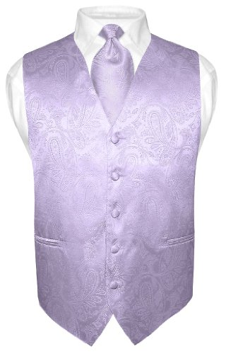 Vesuvio Napoli Men's Paisley Design Dress Vest & Necktie Lavender Purple Neck Tie Set sz Med