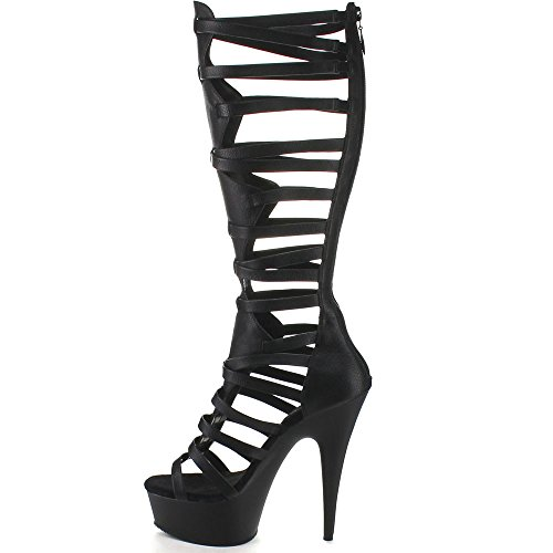 Pleaser DELIGHT-600-48 Blk Pu/Blk Matte Size UK 7 EU 40