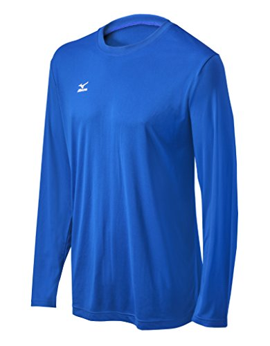 Mizuno Youth Long Sleeve Hybrid Tee, Royal,