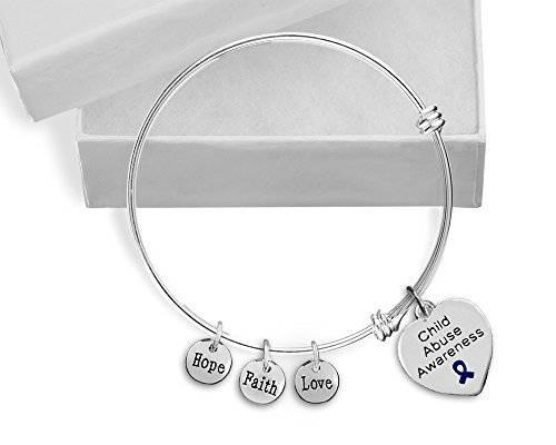 12 Child Abuse Heart Retractable Charm Bracelets (Wholesale Pack - 12 Bracelets)