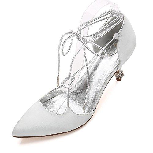 Wedding yc L Estate Donna Da Evening 27 Scarpe Sposa 17767 Silver Dress Blue Party Comfort Satin Champagne Primavera amp; PwdqxwHf