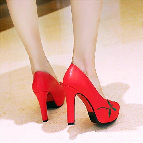 37 alto bordado fino zapatos long235mm con Tamaño estilo Color sueltos Primavera Shoes étnico boca tacón baja zapatos Rojo ALUK Negro wSCzqa