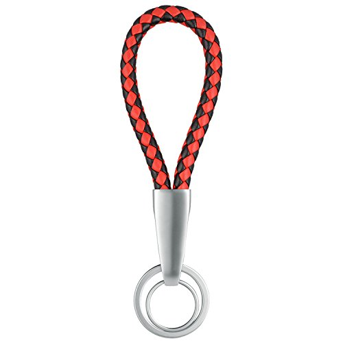 Leather Key Chain, JARMOR Loop Handmade Leather Braided Lanyard Keychain with 2 Metal Rings for Car / Office / Home Keys (RedBlack)