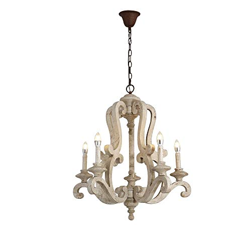 JiuZhuo Vintage French Country Chandelier Distressed White Wood 5-Candle Holder Lights Rustic Chandelier Farmhouse Ceiling Light Fixture