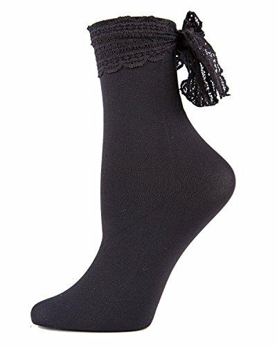 Turn and Twirl Chiffon Bow Ankle Socks,Mwf-000080 Black,One Size