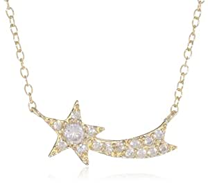 "Goldtone Finish Silver Cubic-Zirconia Shooting Star Pendant Necklace, 16""+3"" Extender"
