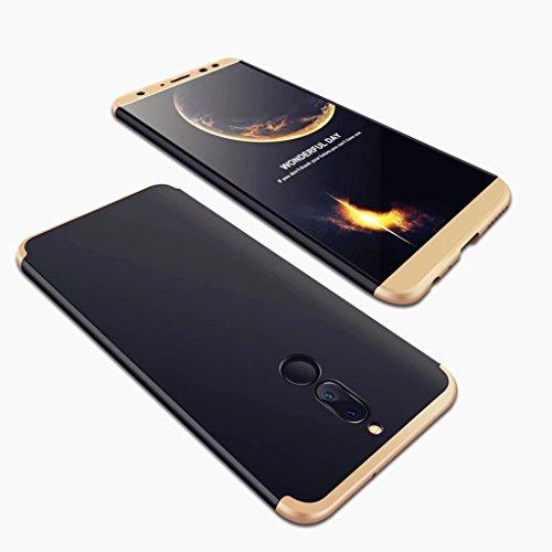 Huawei Mate 10 Lite Hülle,Huawei Mate 10 Lite 360 Grad Hülle,SainCat 3 in 1 Hart PC Hülle Ganzkörper-Koffer 360 Full Body Schutz Handyhülle [Thin Fit 360] Komplettschutz Front + Back Rundum Double Bei Gold+Schwarz