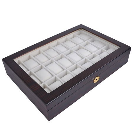 Lockable Wooden Watch Display Case Made of Ebony with Matte Stain and Glass Top: Holds 24 Watches by AV Prime Inc. (Image #4)