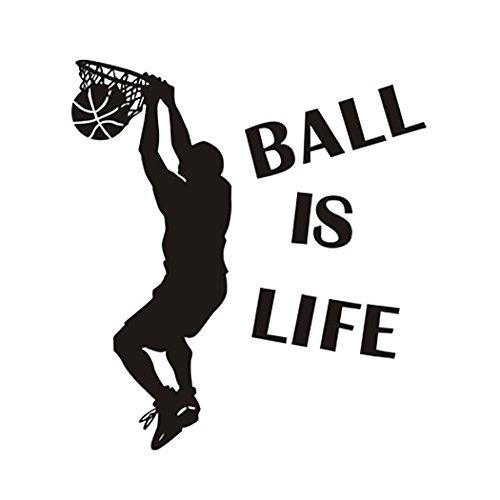 Hatisan Ball Is Life Basketball Slam Dunk Wall Decal Sticker - Basketball Player Decor Wall - Removable Wall Sticker Sports Style Wall Decor for Kids Boys Teens (23.6