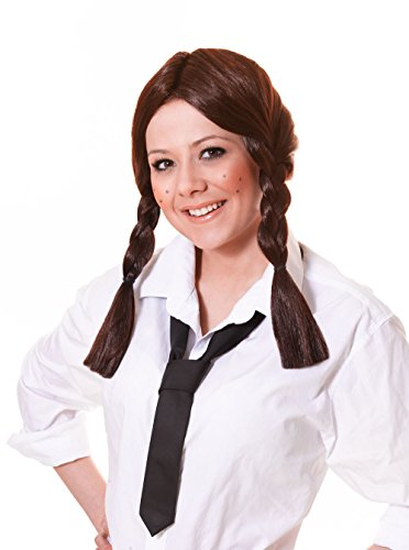 Bristol Novelty BW318 Schoolgirl Wig, Brown, One Size]()