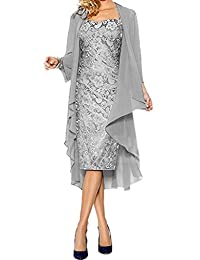APXPF Women's Lace Mother of The Groom Dresses Tea Length with Jacket