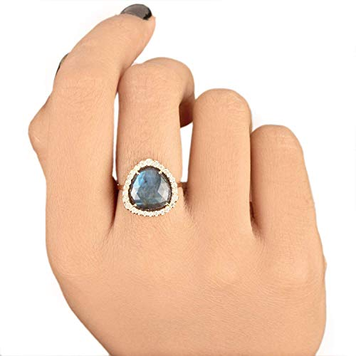 Solid 14k Yellow Gold Natural 3.71 Ct. Labradorite Gemstone Cocktail Ring Diamond Wedding Jewelry Handmade Fine Jewelry Christmas Day Gift For Her ()