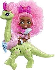 Cave Club Cave Tots Diva Tot docka (ungefär 8,5 cm) liten docka med dinosaurie och lockigt rosa hår, kläder och tillbehör