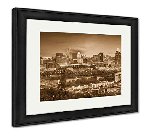 (Ashley Framed Prints Cincinnati, Ohio, USA Skyline, Wall Art Home Decoration, Sepia, 30x35 (Frame Size), Black Frame,)