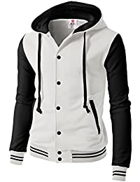 f52db5de776 Mens Fashion Slim Fit Varsity Baseball Bomber Jacket Hoodie Cotton