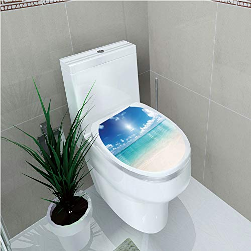 Toilet Custom Sticker,Ocean,Sky and Sea Landscape Golden Sand Tropical Beach Clouds Sun Hot Heaven Decorative,Cream Turquoise White,Diversified (Heaven Clouds Design)