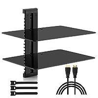 PERLESMITH Estante de AV flotante Estante de montaje en pared doble - Soporta hasta 16.5 libras - Estante de componentes de DVD DVR con vidrio templado reforzado - Perfecto para PS4, Xbox, caja de TV y caja de cable