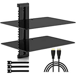 PERLESMITH PGDSK2 AV Shelf - Double Floating Wall Mount Shelf - Holds up to 16.5lbs - DVD DVR Component Shelf Strengthened Tempered Glass - Perfect PS4, Xbox, TV Box Cable Box