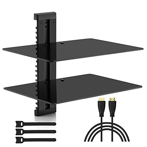 Two Glass Shelves - PERLESMITH Floating AV Shelf Double Wall Mount Shelf - Holds up to 16.5lbs - DVD DVR Component Shelf with Strengthened Tempered Glass - Perfect for PS4, Xbox, TV Box and Cable Box