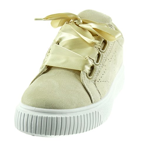 Satin Lacet Angkorly Ruban Beige 5 Talon Chaussure Plateforme Mode Baskets Femme Plat Cm Tennis 3 pY08pq