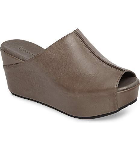Chocolat Blu Wynn Wedge - Platform Slip On Mule Sandals - Women's Leather Shoes Graphite Leather 8