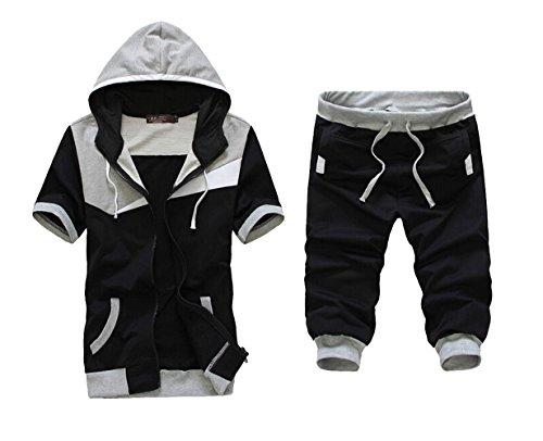 (Meilaier Mens Sports Set Hoodie Zipper Short-sleeved Coats Middle Pants Suit (XL, Gray))