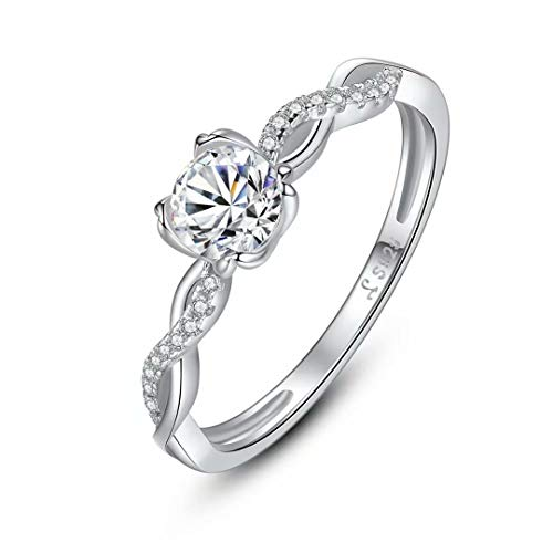 - Presentski 4 Prong Brilliant Cut AAAAA CZ Solitaire Engagement Ring for Women Birthday Gift