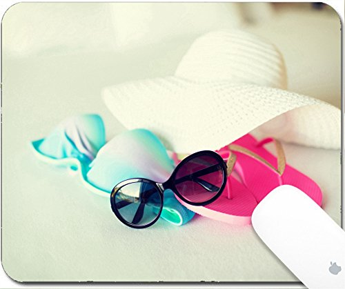 Luxlady Mouse Pad Natural Rubber Mousepad 9.25in X 7.25in IMAGE: 31411349 vacation holiday and travel concept close up of bikini top straw hat flip flop and sunglasses on hotel - Sunglasses Relaxation